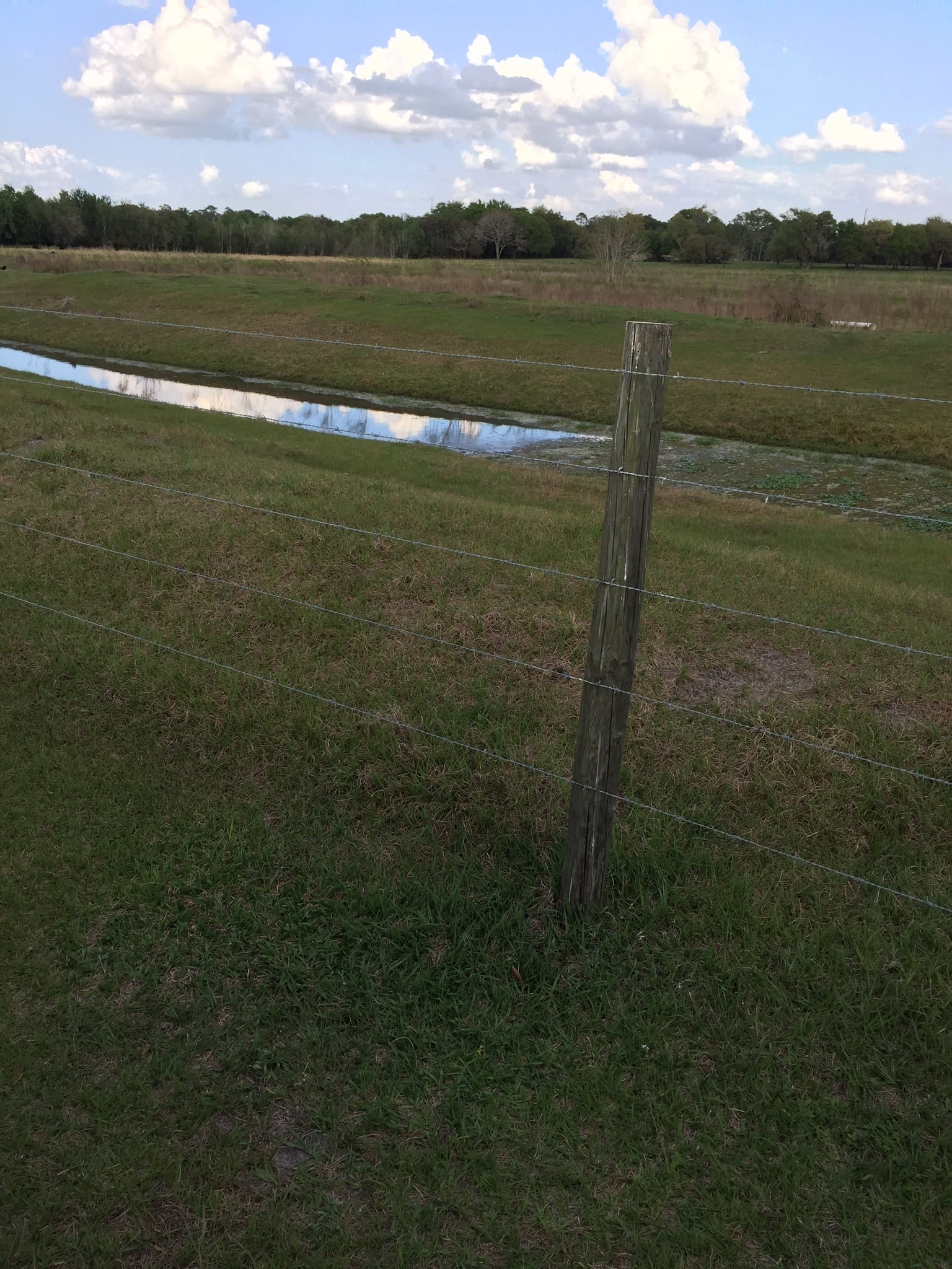 Photo of a ditch with water and clouds